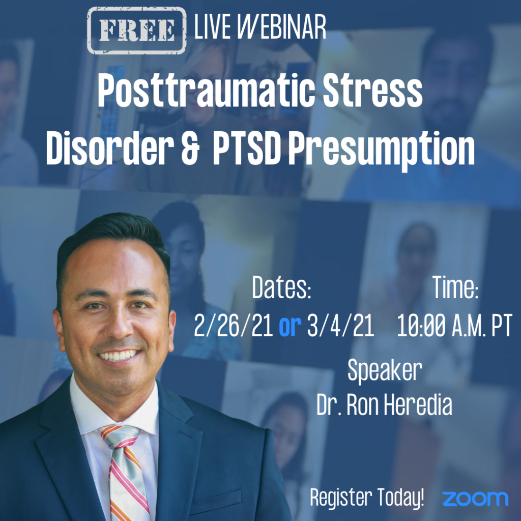 Webinar Promotion Flyer for Posttraumatic Stress Disorder & PTSD Presumption